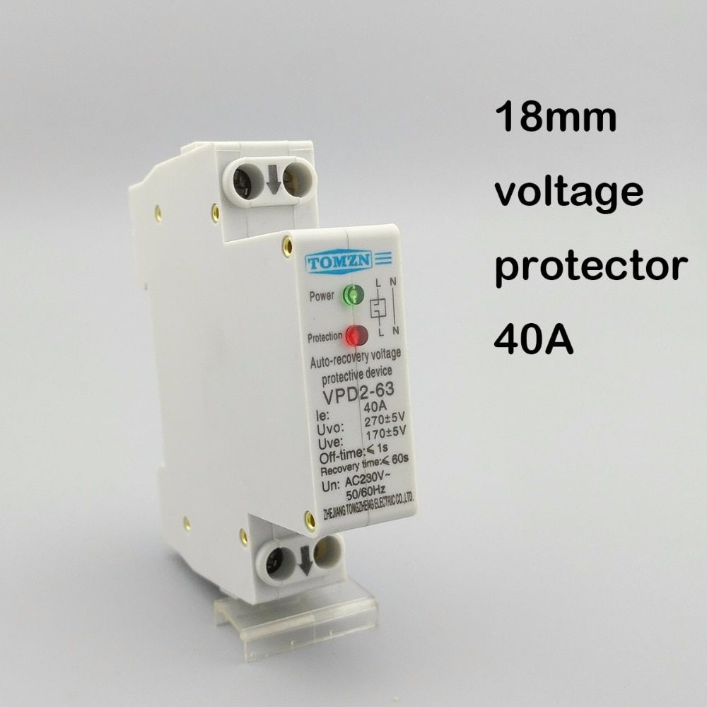 18mm 40A 230V 50/60HZ automatic recovery reconnect over voltage and under voltage protective device protector protection relay