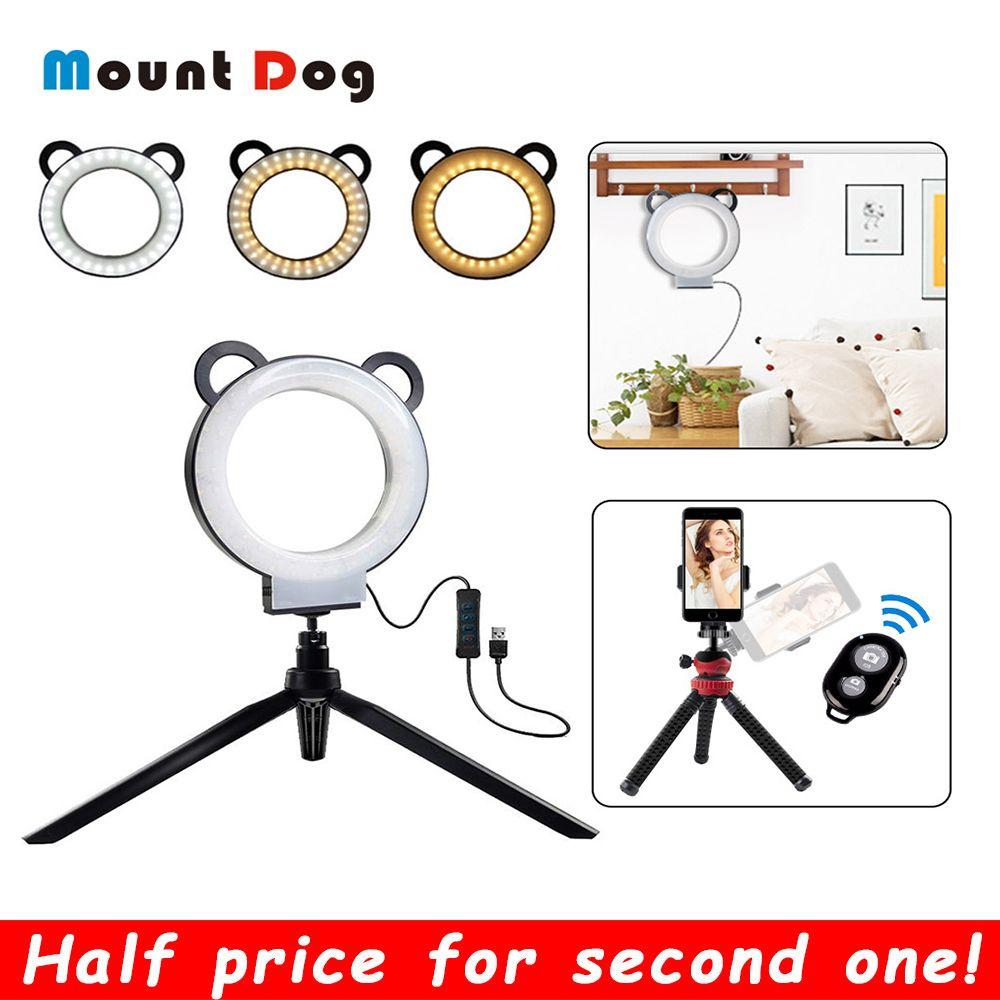 6 pouces photographie anneau lampe LED Selfie anneau lumière YouTube vidéo en direct 3200-5500 k caméra lumière avec support pour téléphone USB prise trépied