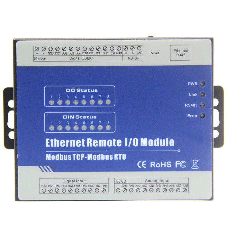 Modbus RTU/Ethernet Remote IO Module(8DI+8DO+8AI+RJ45+RS485) Extensible Module supports standard Modbus TCP M160T