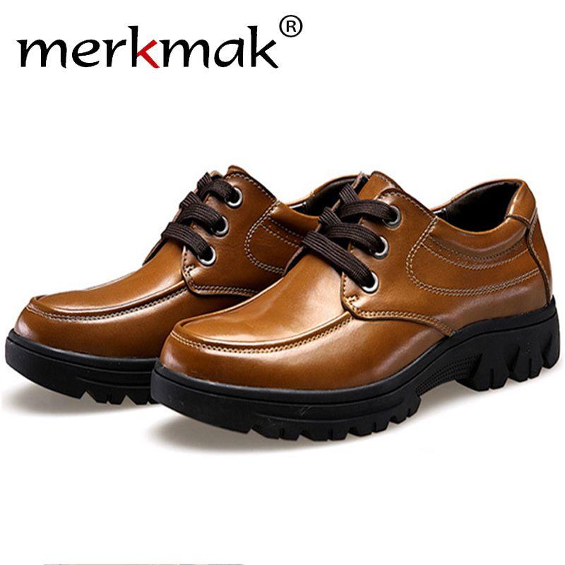 Merkmak/Обувь Для мужчин Мода 2017 г. Пояса из натуральной кожи Повседневное броги Бизнес большой Размеры 37-50 Для мужчин Туфли без каблуков footear ды...