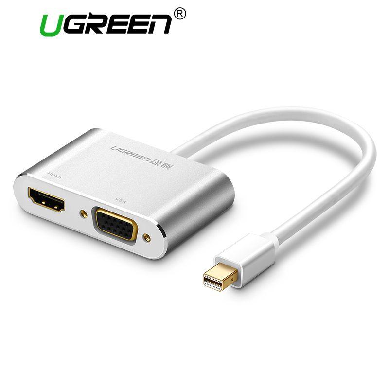 Ugreen 2 in 1 Thunderbolt Mini Displayport DP to HDMI VGA Adapter Cable 4K 1080P Mini DP Converter for Macbook Air Microsurface