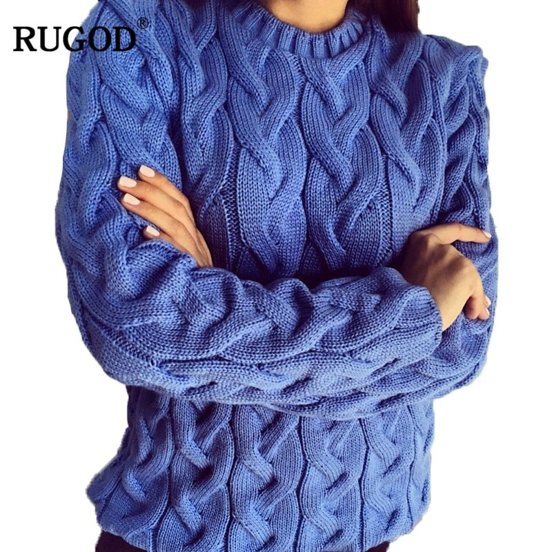 RUGOD Solid Women Sweaters And Pullovers Loose Knitted Pullover Female Tops Spring&Autumn Long Sleeve Jumper Sweater pull <font><b>femme</b></font>
