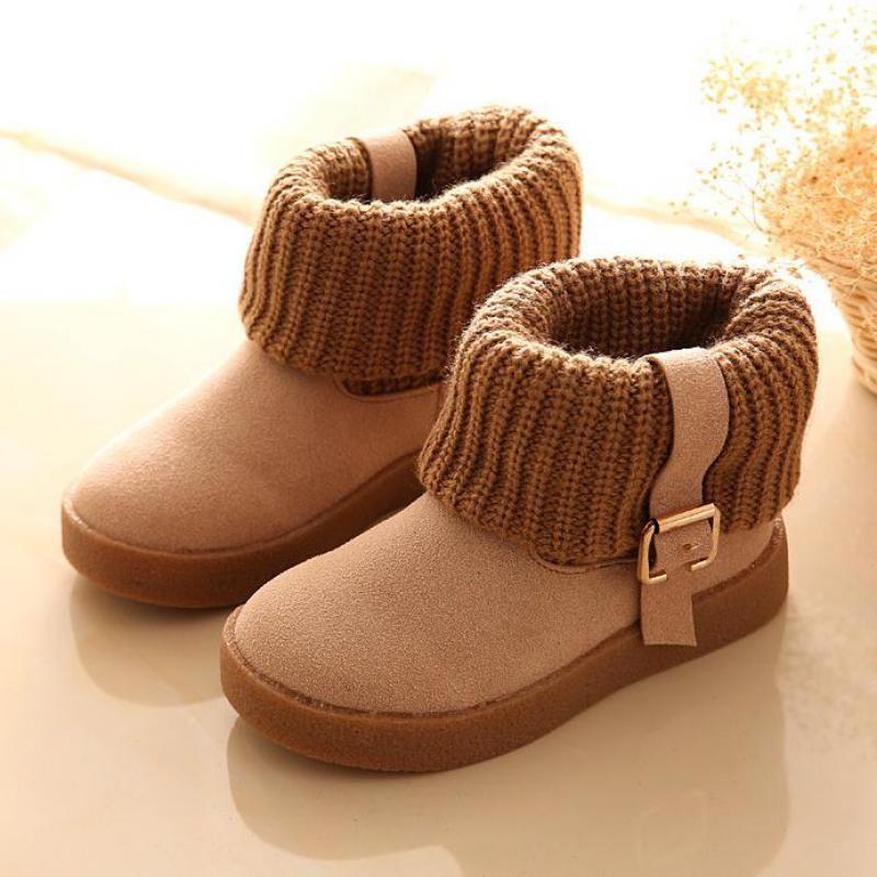 2017 Nueva Chica Tobillo Botas de Invierno de Los Niños Zapatos de Piel de la Hebilla de La Correa niños Nieve Botas Zapatos de Bebé Moda FaMale Caliente Chica Marea Zapato