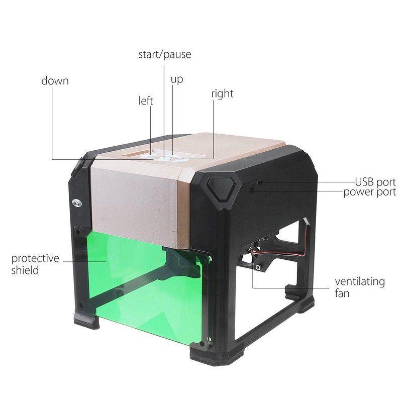 3000MW Laser Engraving Machine Wood Router Laser Cutter DIY Print Mini Lettering Machine Custom Logo 80*80mm Big Working Area