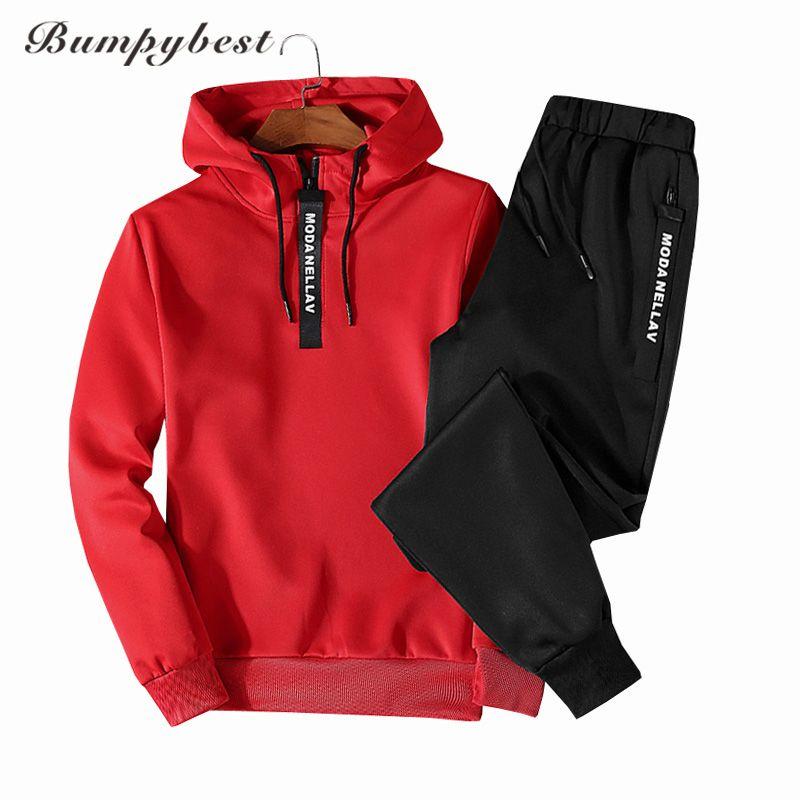 Bumpybeast Hot spring Autumn Men Tracksuit Two Piece Sets Pullover Hoodies + Pants Sportwear Suit Male Hoodies plus size M-5XL