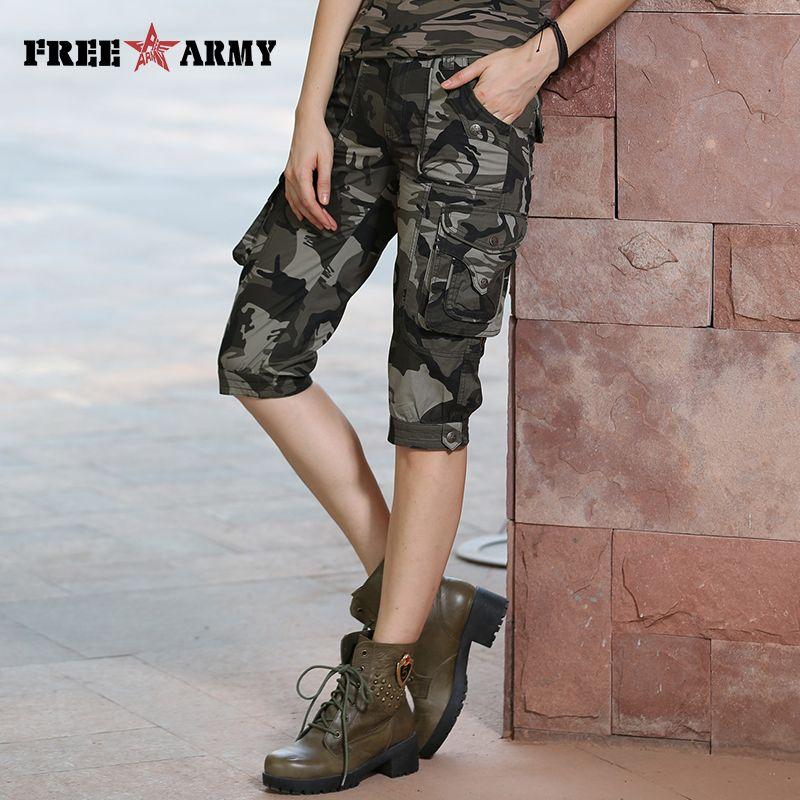 Haute qualité mode Camo Shorts modèles Feminino plafones Cortos Mujer été femmes Camouflage genou-longueur Shorts Gk-9388B