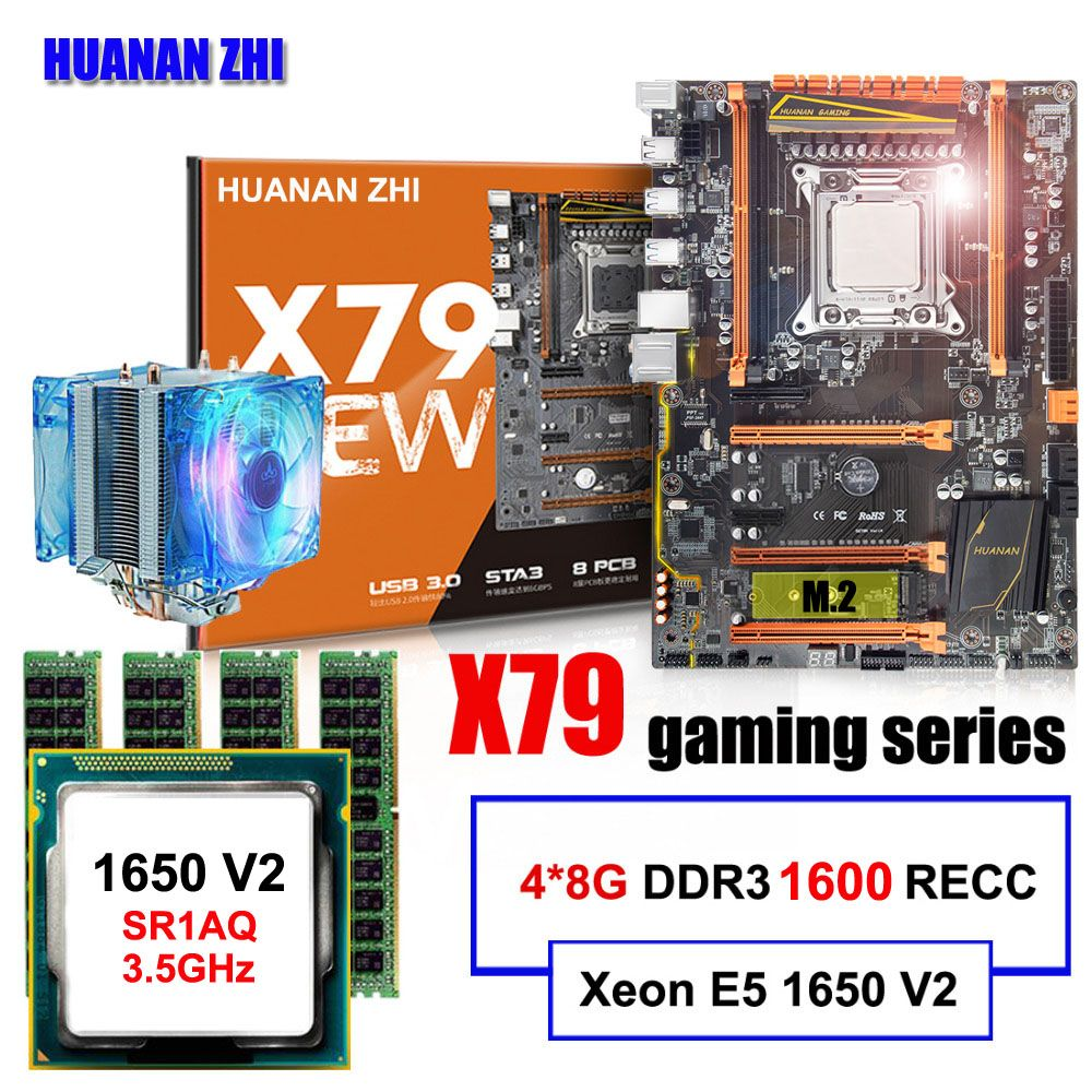 PC hardware supply HUANAN ZHI deluxe X79 motherboard Intel Xeon E5 1650 V2 3.5GHz with cooler RAM 32G(4*8G) DDR3 1600 REG ECC