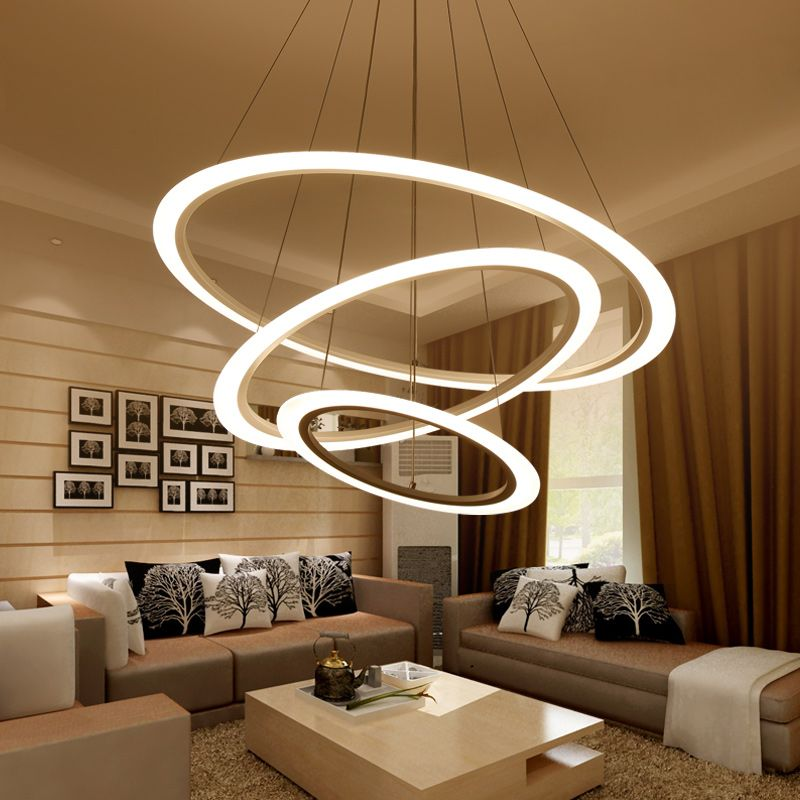 Living room lamp Postmodern chandelier modern minimalist round led chandelier bedroom lamp creative dining room lamp AC85-265V