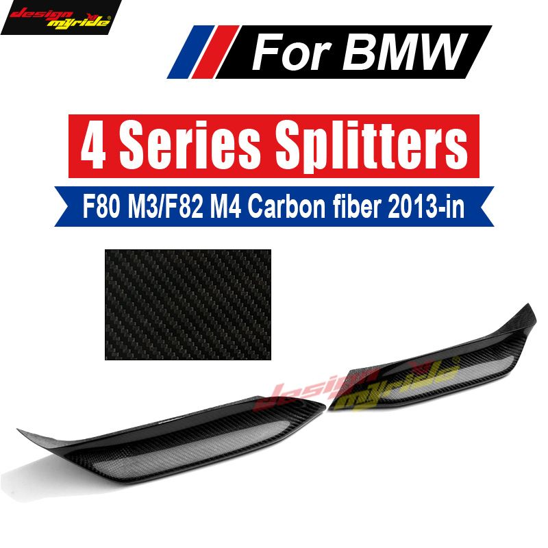 M3 F80 Carbon Fiber Corner Splitter Up M-performance Style Front spoiler and wrap angle For BMW F80 M3 F82 M4 F83 2013-18 2pcs