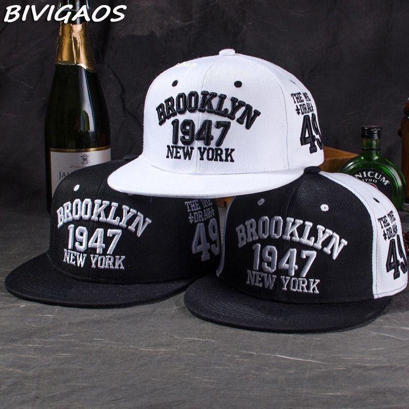 Nouveau mode hommes Snapbacks casquettes de Baseball noir blanc 1947 BROOKLYN lettres broderie Hip Hop casquettes soleil chapeaux os pour hommes femmes