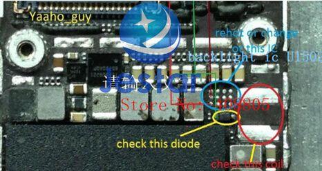3 sets/lot fix partie pour iPhone 6 6G & 6 plus Rétro-Éclairage IC U1502, bobine L1503, diode D1501 + fusibles filtres Fl2024