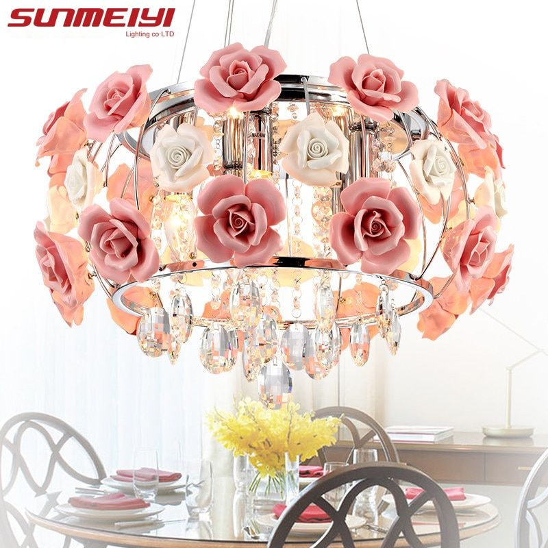 2018 New Arrival LED Crystal Ceiling Lights lustres de sala Beautiful Rose Style For Bedroom Dining Room Free shipping