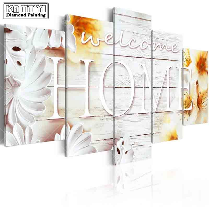 full square drill Diamond embroidery welcome home 5D DIY diamond painting Cross Stitch Multi-picture home decoration