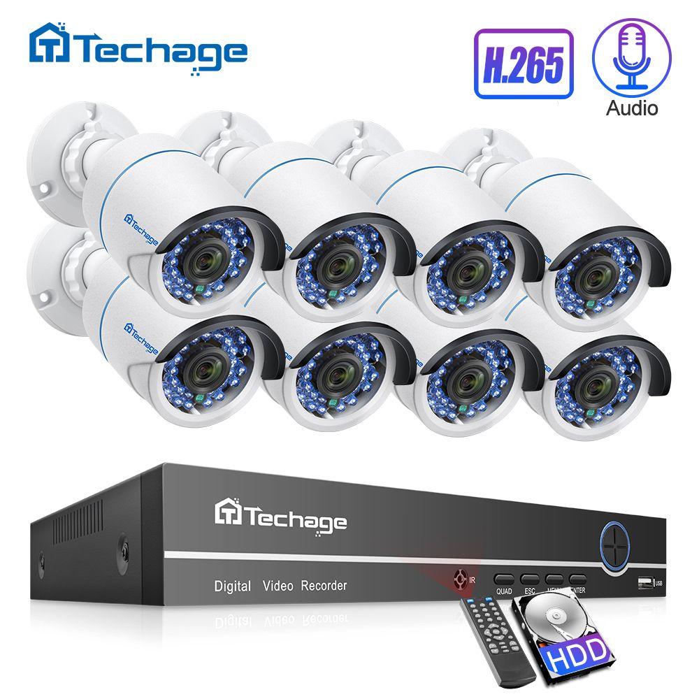 H.265 8CH 1080P 2MP POE système de caméra de sécurité Kit Audio caméra IP IR extérieur IP66 étanche CCTV ensemble de Surveillance vidéo