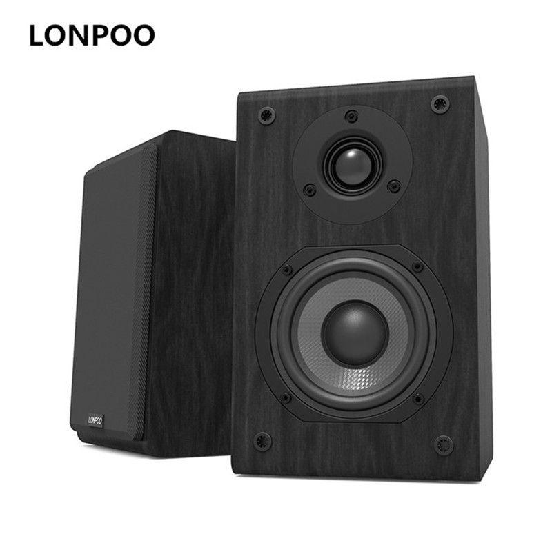 LONPOO Bücherregal Lautsprecher Passive Paar 2-Weg 75 watt * 2 Klassische Holz Lautsprecher mit 4-zoll Carbon faser Woofer Hochtöner Lautsprecher