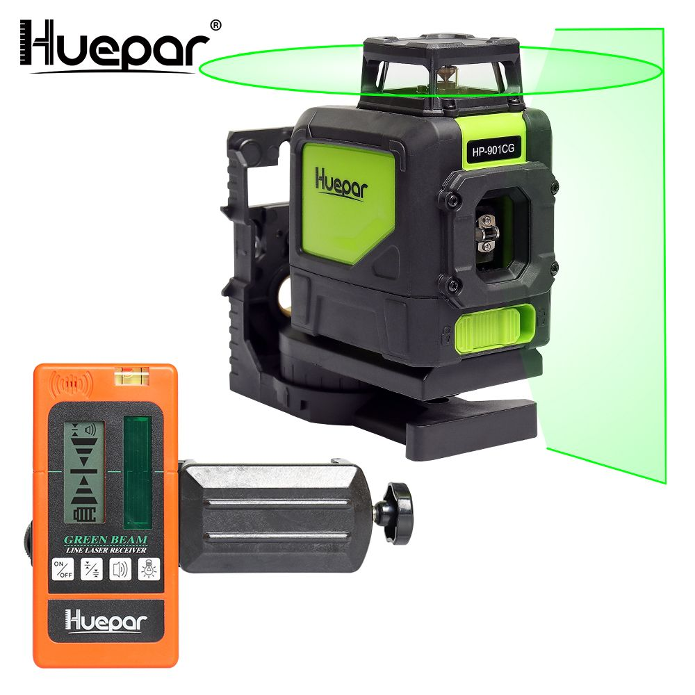 Huepar Laser Level Green Beam Cross Laser Self-leveling 360-Degree with 2 Pluse Modes+Huepar Digital LCD Laser Receiver Detector