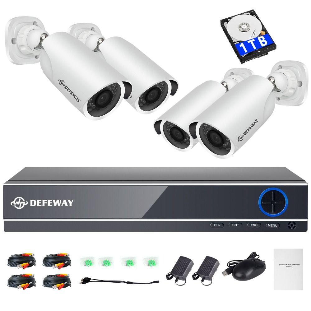 DEFEWAY HD Kit Sicherheit Kamera 1080 P HD Video Überwachung Kit 4 Outdoor Überwachung Kamera CCTV System 8CH DVR 1 TB HDD AHD