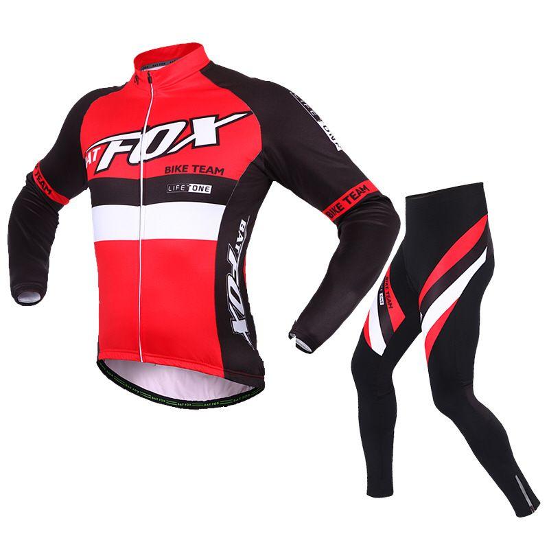 BATFOX Brand Autumn And Winter Men Cycling Jerseys Fleece Suit Long Sleeve Cycling Wear Cycling Equipment Ropa Ciclismo L445