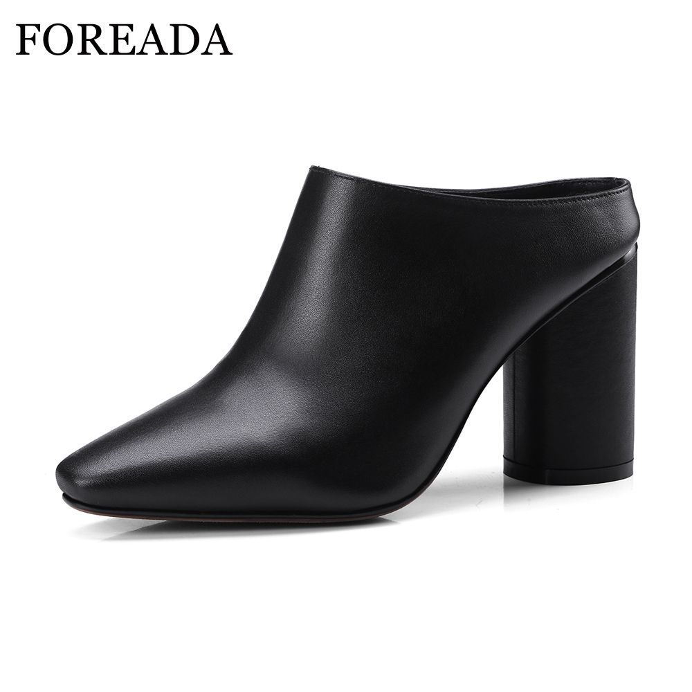 FOREADA Cow Genuine Leather Women Shoes Slip On Mules Sexy Thick High Heels Shoes Spring 2018 Pumps Black Square Toe Party Shoes