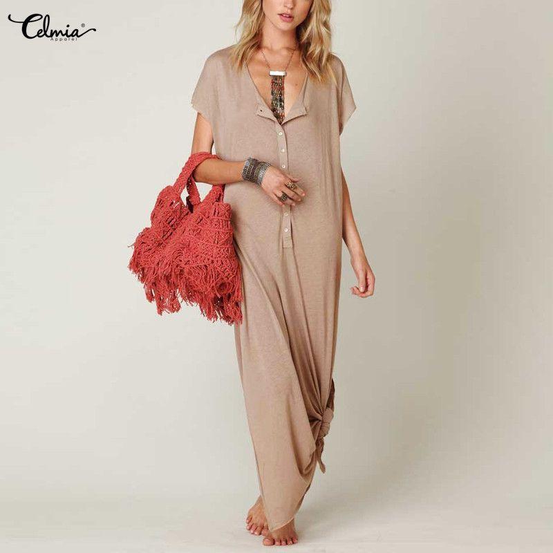 Celmia <font><b>Women</b></font> Beach Maxi Dress 2018 Summer Sexy V Neck Short Sleeve Side Split Long Dresses Casual Solid Loose Vestidos De Festa