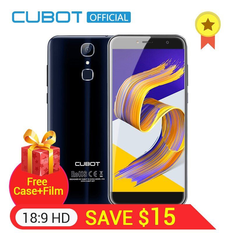 <font><b>Cubot</b></font> X18 Fingerprint 5.7 HD 18:9 MT6737T Quad Core 3GB RAM 32GB ROM Smartphone 13MP Camera Android 7.0 Celular 3200mAh 4G LTE