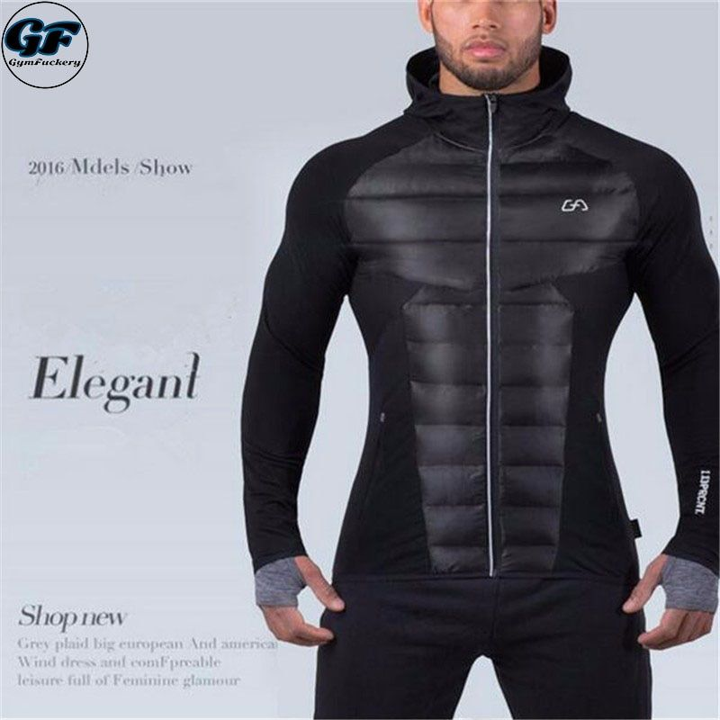 GYMFUCKERY GF New Men's Hooded jacket Thick material warmth Fitness Hooded jacket Patchwork bodybuilding Man Hoodie Clothing