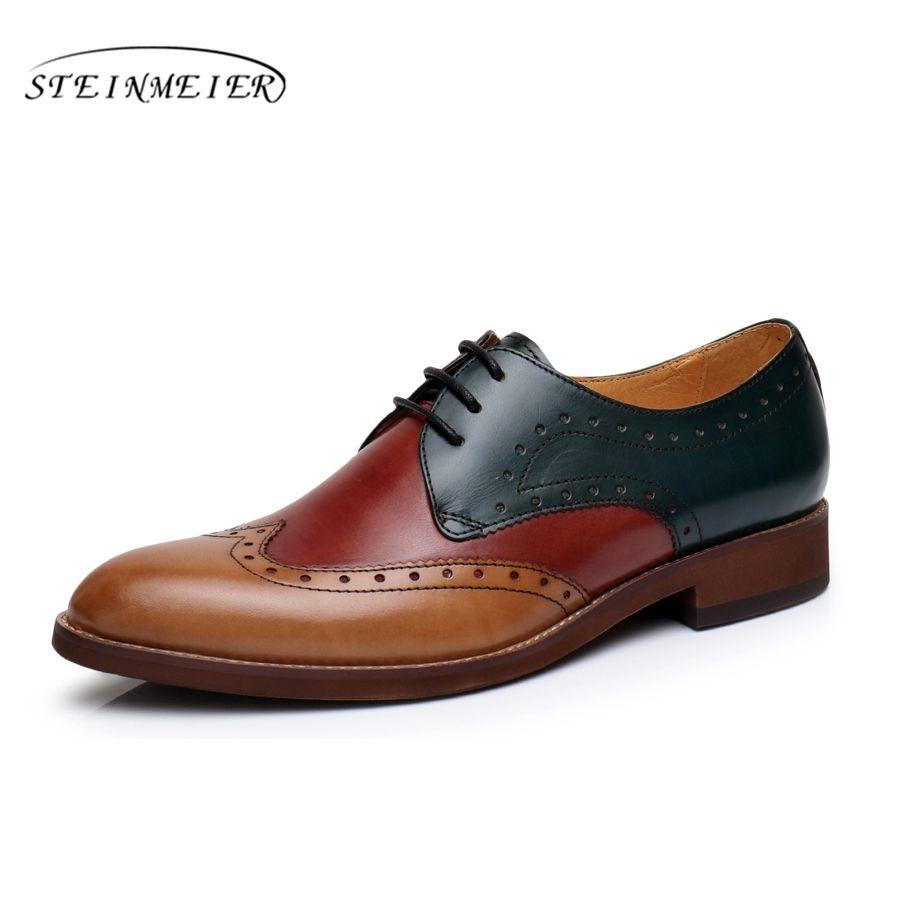 Для женщин Natrual кожа yinzo оксфорды на плоской подошве Женская обувь в винтажном стиле с круглым носком ручной работы кроссовок вино красный ж...