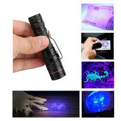 Portátil Zoomable linterna LED UV 395nm ultravioleta de la luz antorcha lámpara AA/14500 batería
