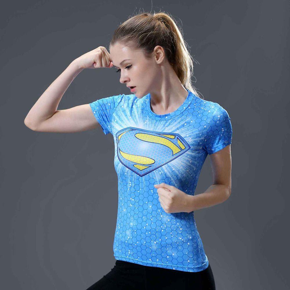 Star superman 3D Imprimé T-shirts Femmes Captain America Compression Chemise À Manches Courtes Cosplay Super hero Pour Dames Tops Femme