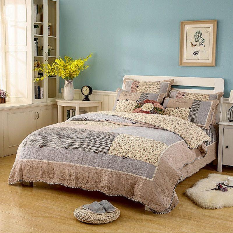 CHAUSUB Quality Cotton Patchwork Quilt Set 3PCS/4PCS Floral Quilted Bedspread Bed Cover Duvet Cover Pillowcase Coverlets Bedding