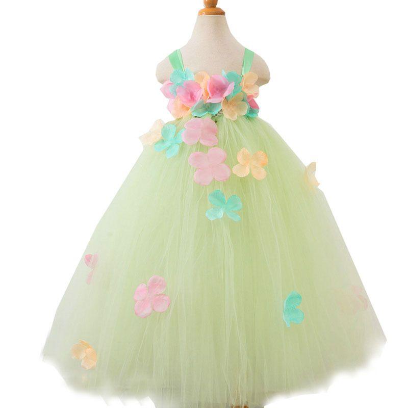 Fleur verte Tutu robe bébé fille été princesse robe de fée robe de bal pour les filles noël Halloween Costume fille anniversaire