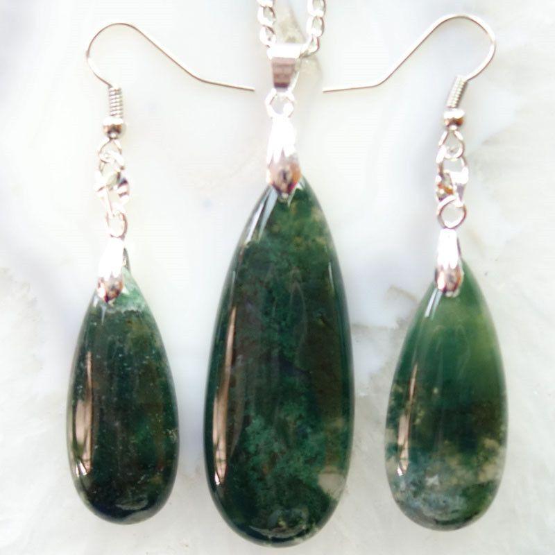Free Shipping Interesting Wholesale Moss Agates Teardrop Earring & Necklace Set SHX1554