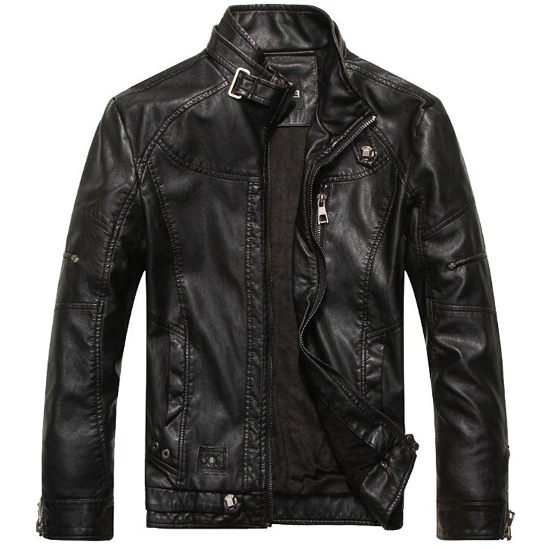 Leather Jacket Men <font><b>Motorcycle</b></font> Jackets jaqueta de couro masculina motoqueiro casaco male leather bomber jacket Mens veste homme