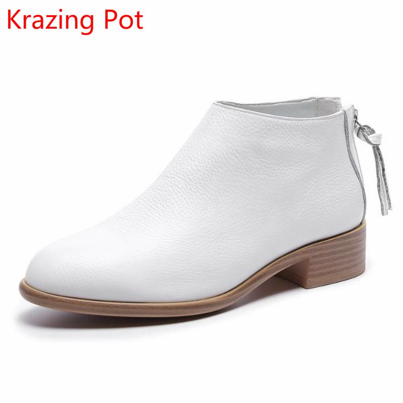 2018 Fashion Cow Leather Zipper Superstar Winter Boots Women Round Toe Low Heel Solid Concise Pregnant Chelsea Ankle Boots L08