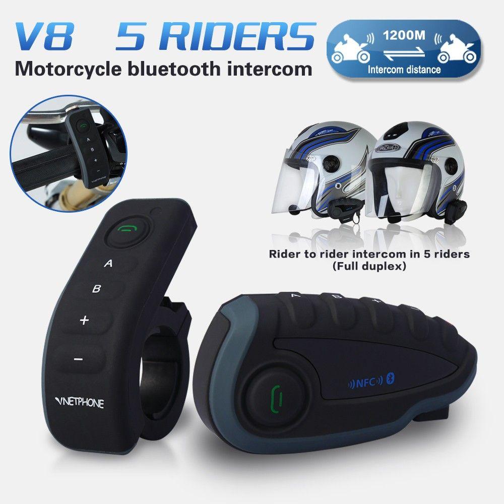 2017 5 Riders Capacete Cascos V8 Bt Intercom Nfc Motorcycle Handlebar Remote Control Communicator Motor Helmet Bluetooth Headset