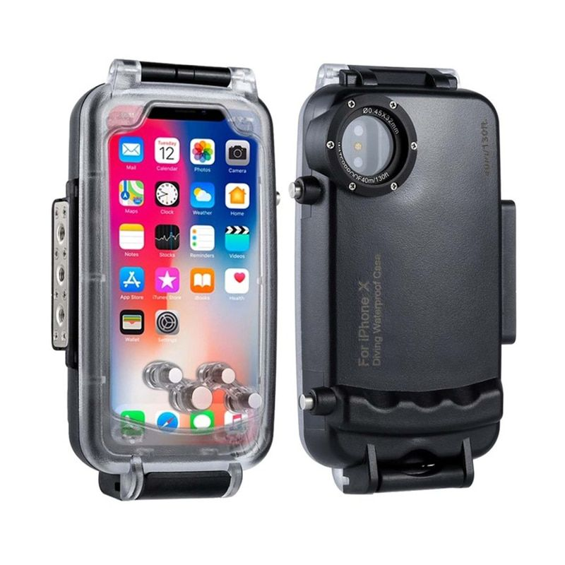 HAWEEL Diving Protective Case For iPhone X Professional Waterproof 40M/130ft Underwater Photography Housing for iPhone 10 cover