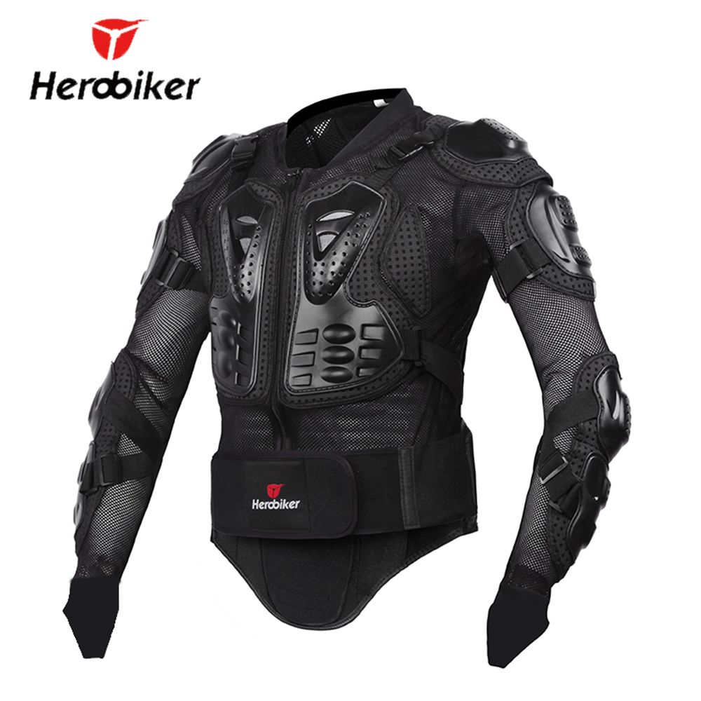 HEROBIKER New Men's Motorcycle Jacket Armor Full Body <font><b>Motocross</b></font> Racing Protective Gear Motorcycle Protection Black/ Red S-XXXL