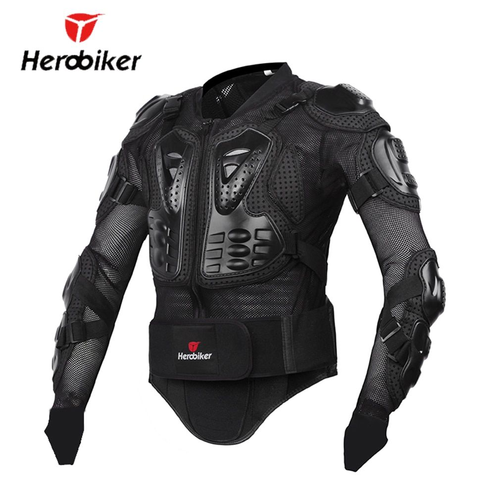 HEROBIKER New Men's Motorcycle Jacket Armor Full <font><b>Body</b></font> Motocross Racing Protective Gear Motorcycle Protection Black/ Red S-XXXL