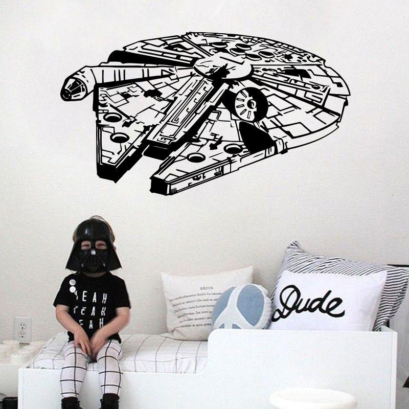 Star Wars Sticker mural vinyle décor à la maison décalcomanie 3D millénium Falcon Fighter peintures murales enfants enfants adolescents garçons chambre dortoir