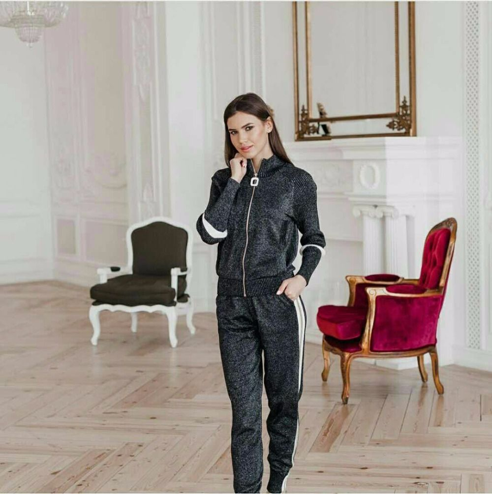 2017 winter Silk and cotton Knitted warm Suit bling bling shiny Sweater + striped stitching Trousers Leisure Two-piece wj1067w