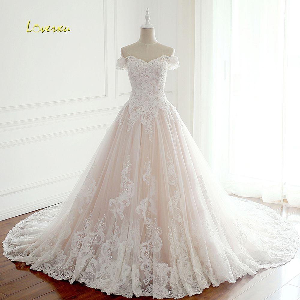 Loverxu Vestido De Noiva Sexy Boat Neck A Line Wedding Dresses 2018 Appliques Beaded Pearls Chapel Train Bridal Gown Plus Size