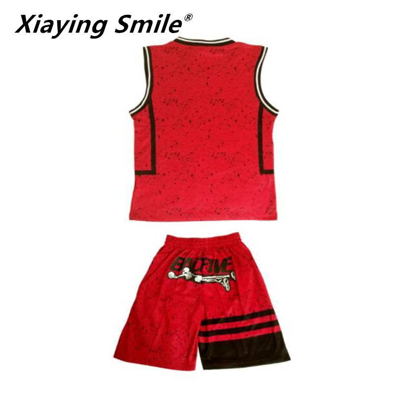 kids basketball sets boys blank basketball jerseys youth sports kits children running uniforms V-neck can customized any logos
