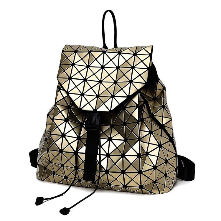 F Women Backpack 2018 BaoBao backpack female Fashion Girl Daily backpack Geometry Package Sequins Folding Bags 7 color DF411