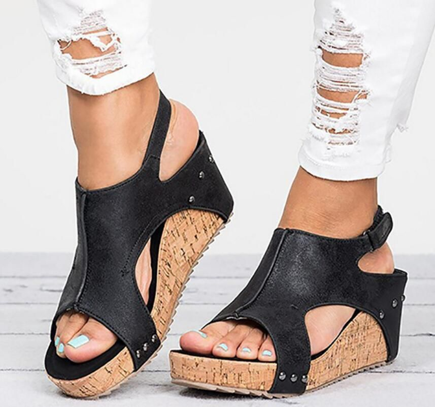 vintage retro women sandals chunky high heel ladies summer open toe shoes zapatos mujer woman wedge footwear chaussure F180225