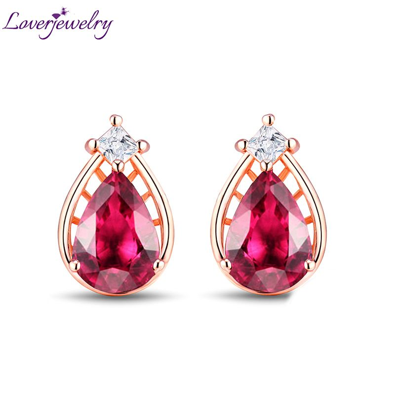 Solid 14K Rose Gold Princess Diamond Natural Pink Tourmaline Stud Earring Jewelry Genuine Gem for Wife Wholesale Gift
