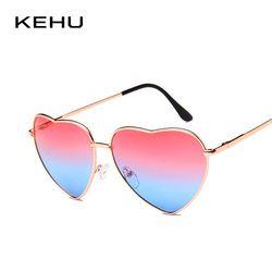 KEHU Soleil En Forme de Coeur Femmes Métal Cadre Lentille Réfléchissante de Soleil protection lunettes de Soleil Hommes Miroir De Sol Mode k9073