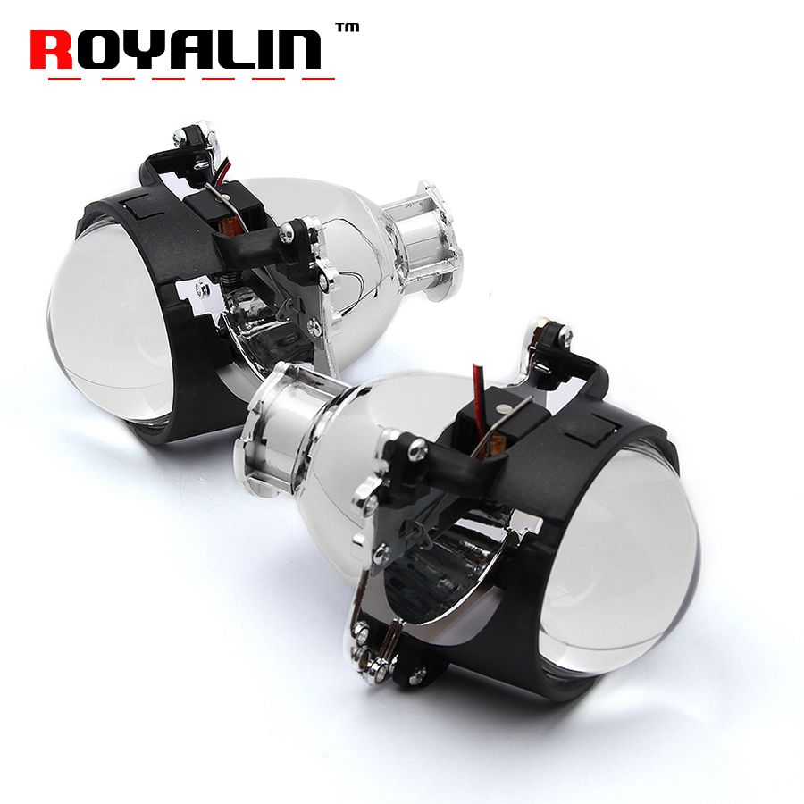 ROYALIN Car Bixenon Projector Headlights Lens 2.8 D2S Bulb for BMW 5 E39 2001-2004 Facelift Xenon Light Mercedes W204 C200 07-11