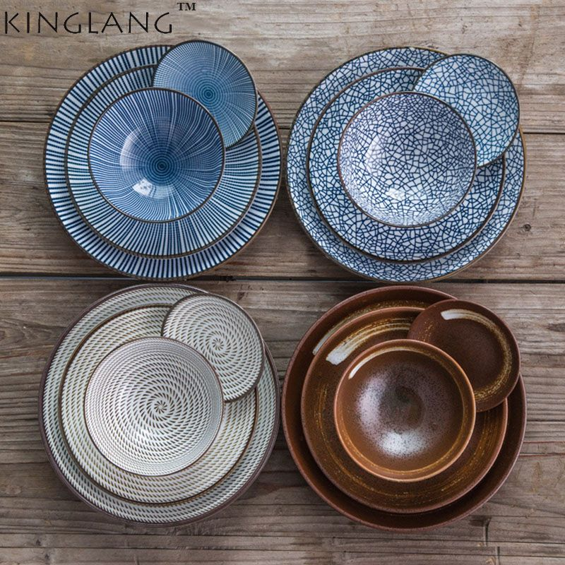 7pcs/set Japan style Promotion ceramic procelain dinner set BLUE TABLEWARE SETS INCLUDE BOWL PLATE 7 pieces lovers dinner set