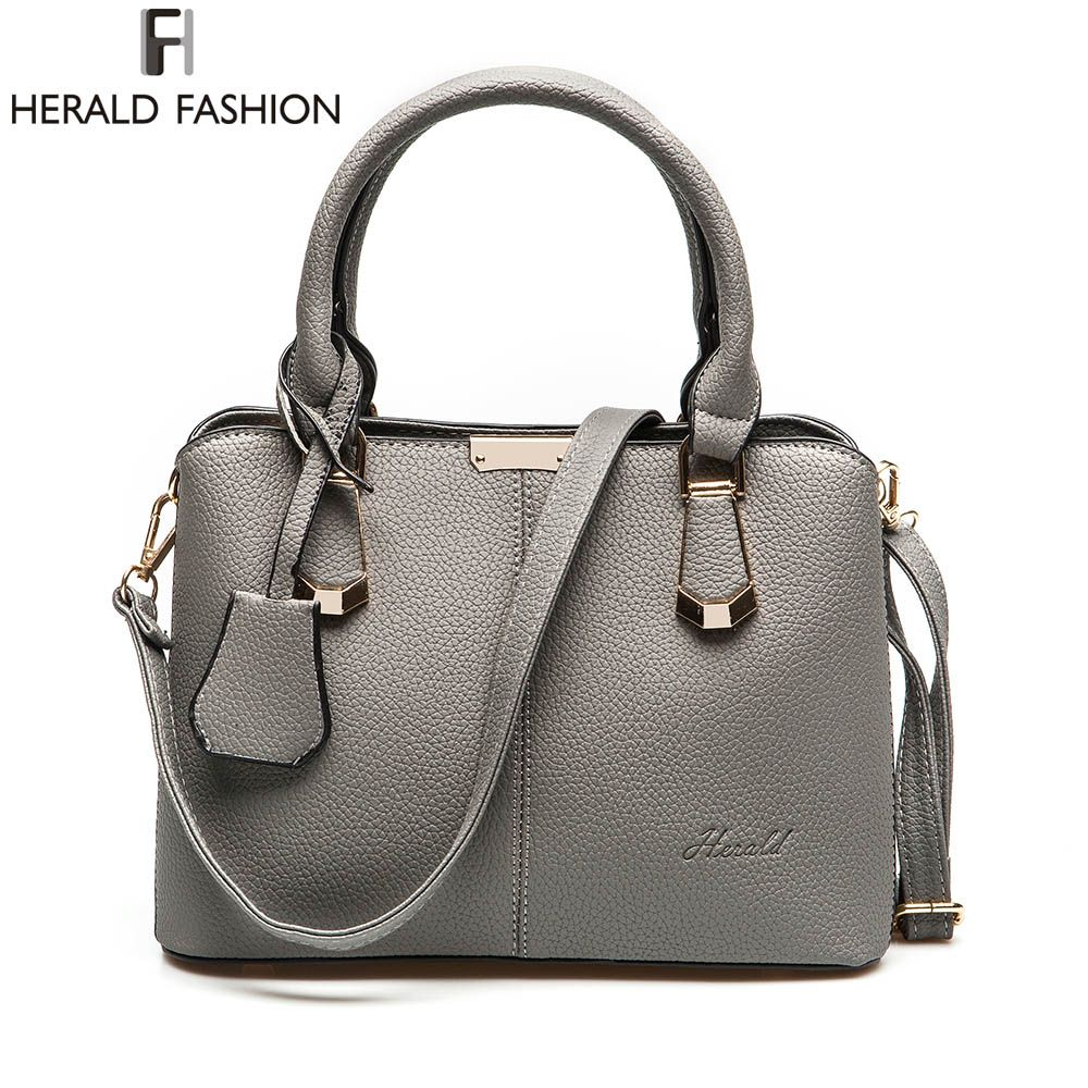 Herald Fashion PU Leather Top-handle Women Handbag Solid <font><b>Ladies</b></font> Lether Shoulder Bag Casual Large Capacity Tote Crossbody Bags