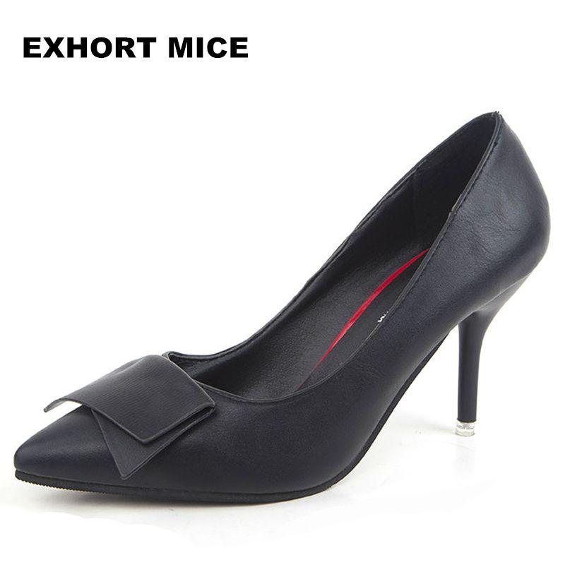 2017 Mujeres Punta estrecha Oficina de Charol de Tacón Alto Zapatos de Las Señoras de Las Bombas de La Boda Zapatos de Vestido de Partido 8 cm Apliques